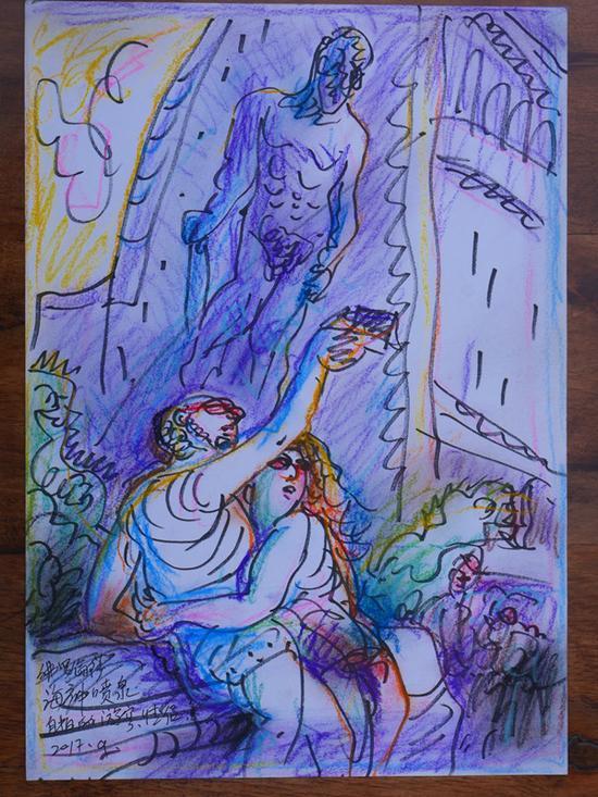 17 佛罗伦萨海神喷泉自拍的游客伴侣 2017.9