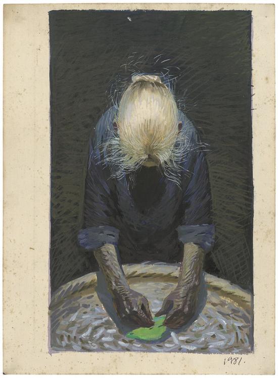 3 春蚕素描 1981年5月 26.2x19.cm