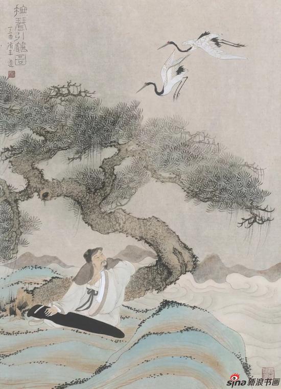 《抚琴引鹤图》 纸本设色 53cmX40cm 2017年