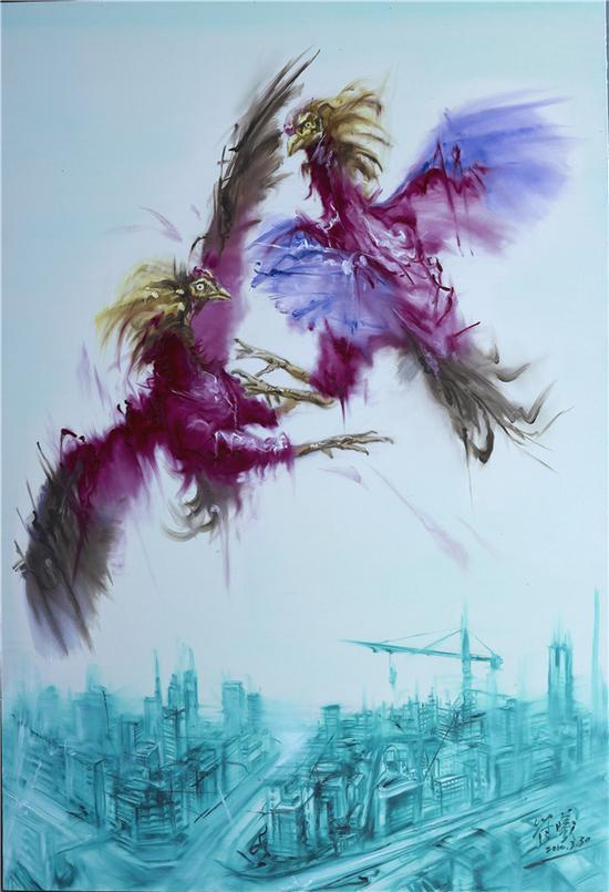 符曦 《鸡飞。。。。。。。。》NO.3 220X150cm 油画