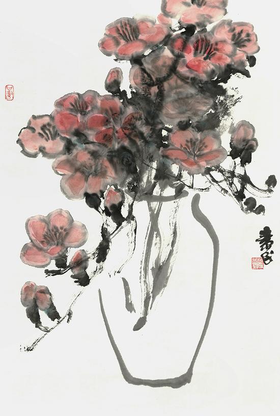 《清供之七--木棉》-罗素民---纸本彩墨-46cmX69cm