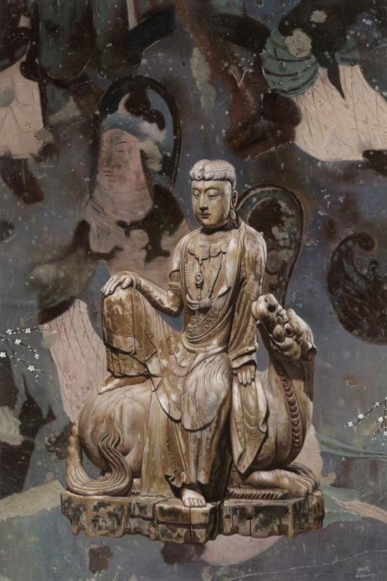米巧铭佛像系列 澄神离形 80X120cm 布面油画 2017