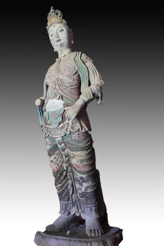 《泥塑菩萨立像》,麦积山第4窟6龛,297 X 103 X 82厘米,宋代,张北平临摹