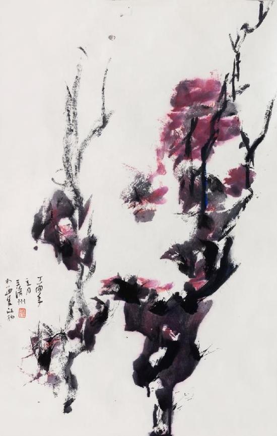 王清州 纸本水墨作品 2017《香风清远之一》75x50cm