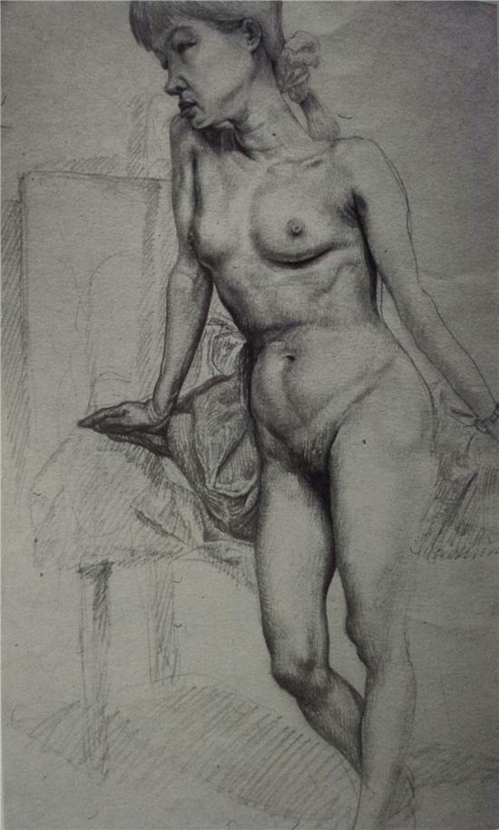 侧裸女人 纸上作品 41X32CM 1994年
