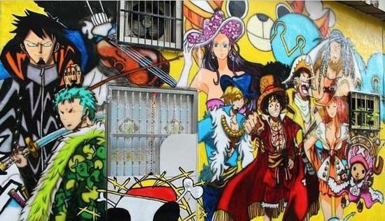 《你的名字.》登陆台中动漫彩绘巷 与《航海王》当邻居