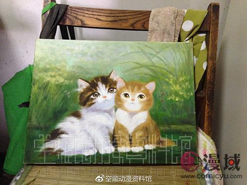 晚年的陆青经常和老伴合作一些小油画。(傅广超摄于2014年7月26日)