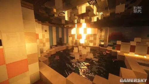 而国内建筑团队LinsCraft以此为灵感,再现了动画里精美的场景