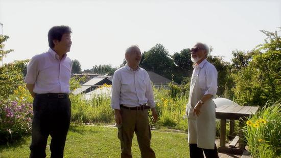 左起:高畑勋、铃木敏夫、宫崎骏