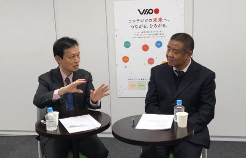 (VIPO 副秘书长槙田寿文采访北京动漫游戏产业协会秘书长刘春刚)