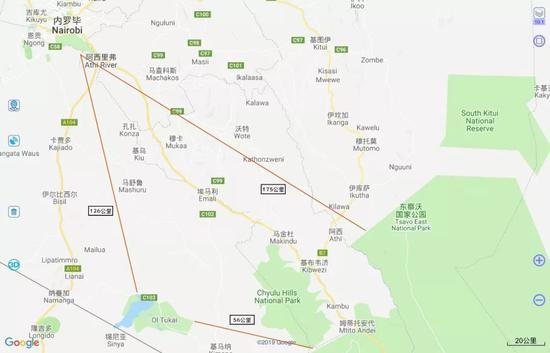 ▲内罗毕国家公园、安博塞利、察沃三地之间的直线距离