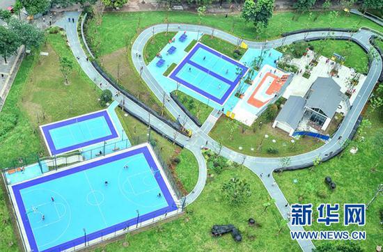 鸟瞰江北区赵家山体育文化公园。新华网 发(重庆市规划和自然资源局供图)