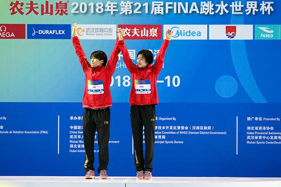 两人在颁奖仪式上开心庆祝。图片来源视觉中国