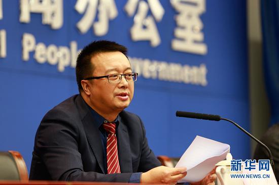 新华网股份有限公司重庆分公司总经理刘刚发布相关情况。新华网 彭博 摄