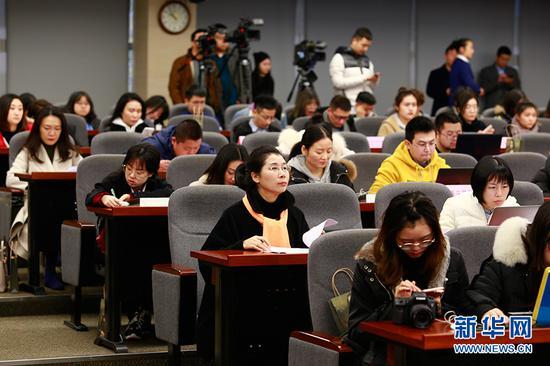 图为新闻发布会现场。新华网 彭博 摄