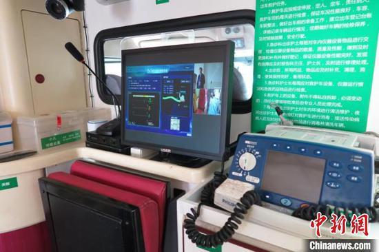 在5G+急救车上能实现多路高清实况视频的同步回传。 钟欣 摄