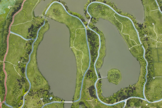 空中俯瞰宛如两叶绿肺的西安沣河梁家滩运动公园。新华社记者 邵瑞摄