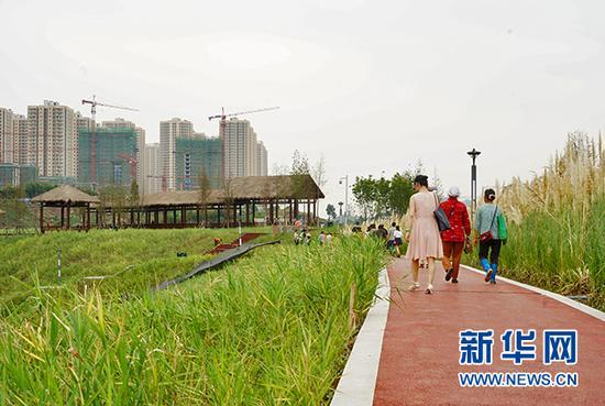 图为九龙坡区跳蹬河岸线的滨河步道。新华网 韩梦霖 摄