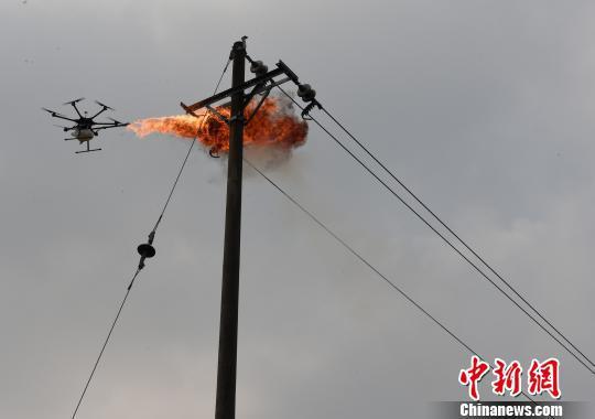 图为国网重庆永川供电公司工人自制无人机喷火清障装置消灭高空电线上的马蜂窝。 周毅 摄