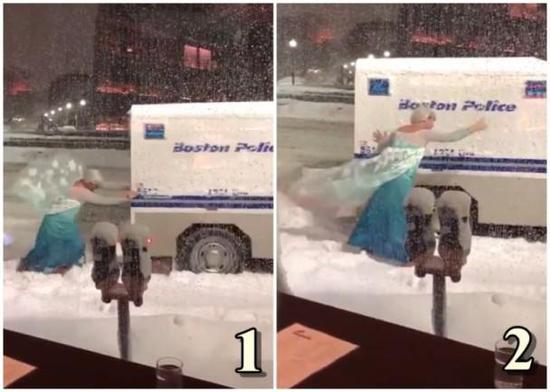 """真人版冰雪奇缘!警用车卡在雪堆里 """"艾莎公主""""救援"""
