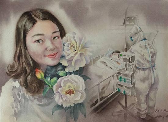 郭晓蓉的肖像画。受访者供图