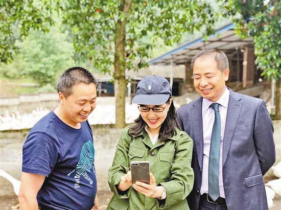 冷安钟(右)、冷安斌(左)兄弟在垫江县普顺镇东风村良种鹅养殖基地。记者 周雨 摄