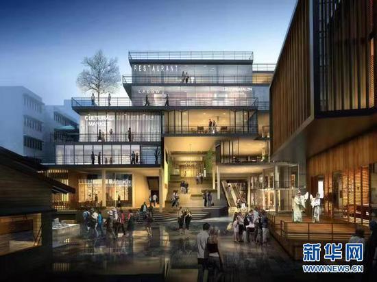 解放碑步行街改造提升规划中的文化街区效果图。新华网发