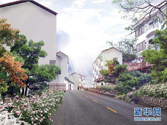 未来经茶山村上红池坝景区的旅游道路效果图。新华网发(茶山村提供)