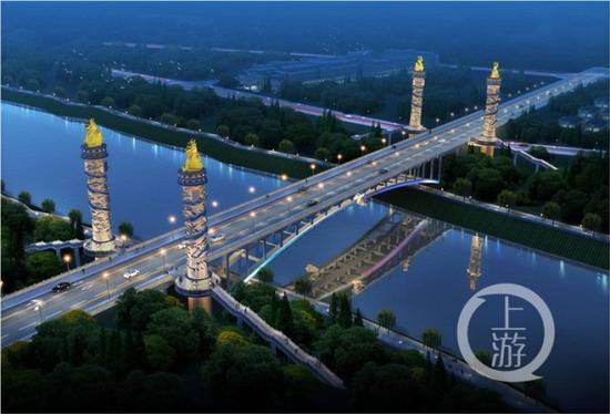 △盛安路跨御临河大桥效果图。