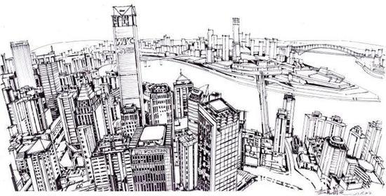 △钢笔画《渝中半岛》