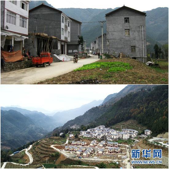 曾经的茶山村旧貌(上图)与11月22日拍摄的茶山村新貌(下图)。新华网 李相博 摄