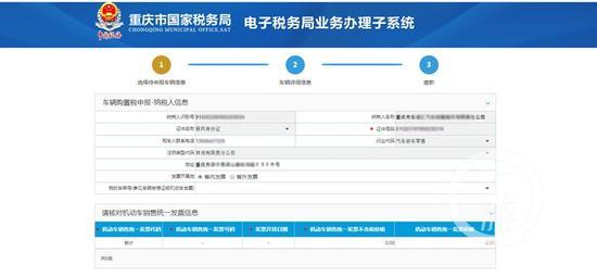 △重庆国税电子税务局车辆购置税办理页面