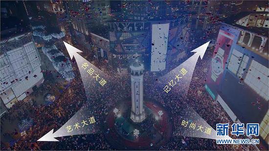 """解放碑步行街将打造""""名品、时尚、记忆、艺术""""四大主题大道。新华网 王龙博 摄"""
