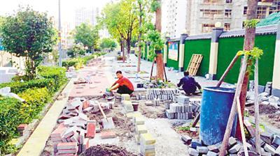 △大學城思賢路道路正在施工中