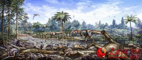 重庆云阳恐龙动物群埋藏复原图。重庆市规划和自然资源局供图