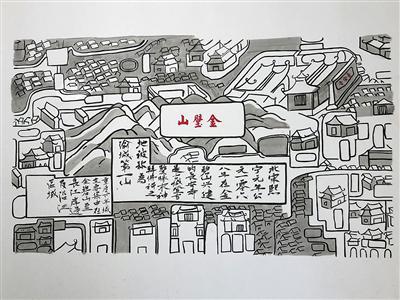长江索道内预约通道里的老重庆图画。