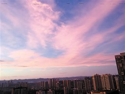 网友们拍下的紫色天空