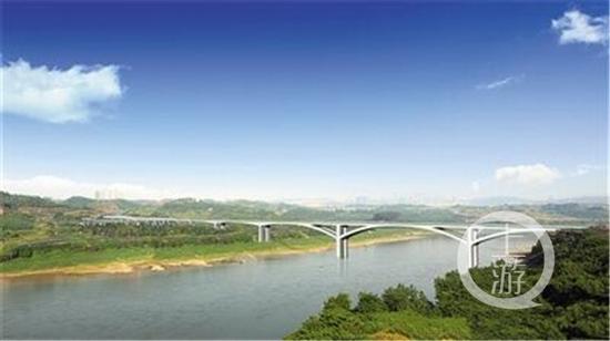 礼嘉嘉陵江大桥实景合成效果图。