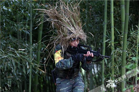 山林捕歼,特战队员在密林深处伪装搜索。曹伟 摄