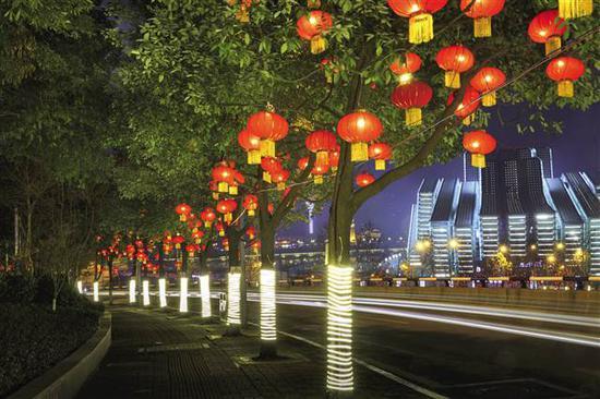 江北城南大街和重庆大剧院