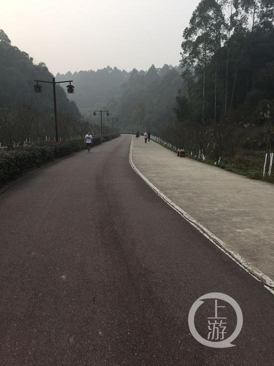 死者曾经在公园的这条路上跑步。