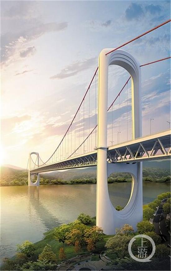 郭家沱长江大桥效果图。