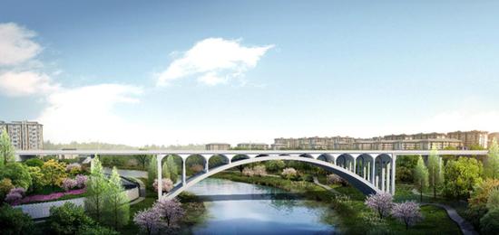 黄胡路跨御临河大桥效果图。