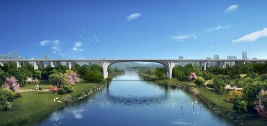 六横线跨御临河大桥效果图。