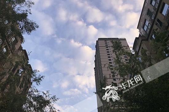周末的清晨,天空白云朵朵。记者 李裕锟 摄