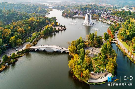无人机航拍重庆秀湖国家湿地公园 处处亭台楼榭