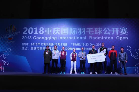 丹麦队获得2018重庆国际羽毛球公开赛团体赛冠军