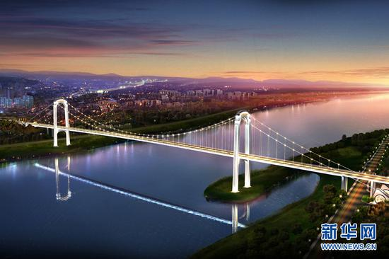 重庆江津白沙长江大桥设计效果图。新华网发