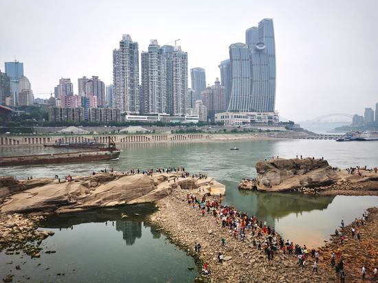 重庆千年神龟石露出江面 引发市民强势围观