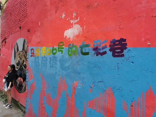 重庆七彩小巷成网红打卡地 游客为打卡排起长队(图)